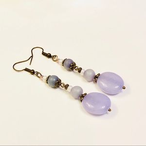 WISTERIA Purple Jadeite & Matte Sodalite Earrings
